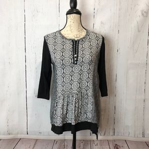 Multiples Black & White Hi-lo Cotton Blouse Med